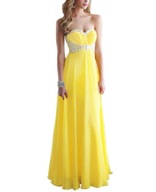2-long strapless yellow prom dress by Moonar