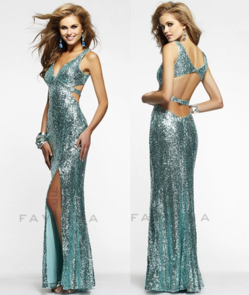 long seafoam sequin prom dress 2014 with low back faviana
