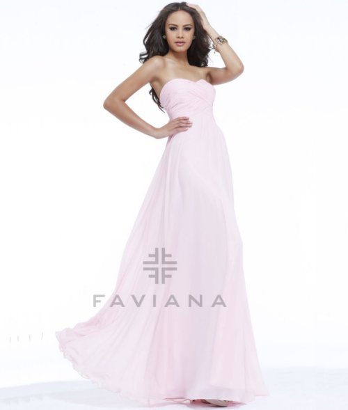 long strapless ice pink prom dress 2014 by faviana