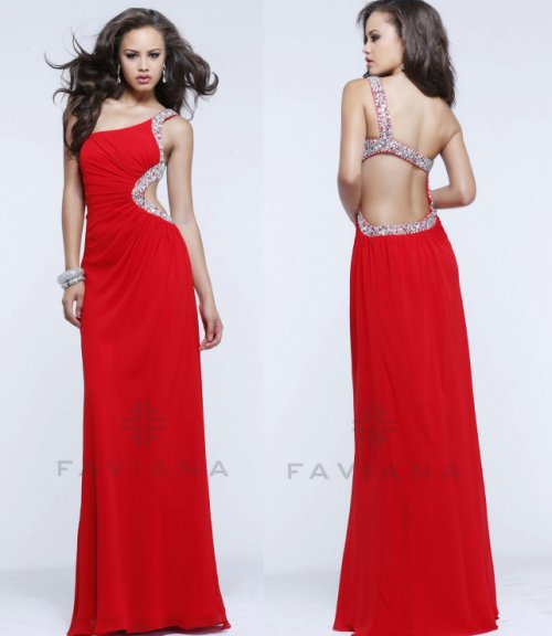 long red one should prom dress 2014 faviana with low back