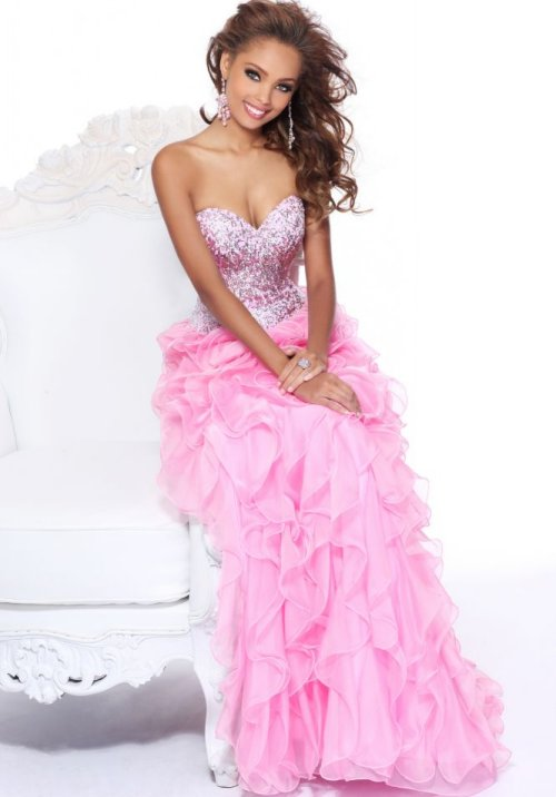 strapless pink prom dress 2014