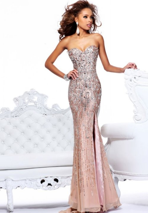 sleek and strapless sparkly prom dress 2014