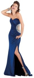 cheap designer Jovani blue prom dress