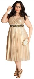cheap gold plus size prom dress