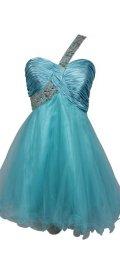 cheap prom dresses uder 100 one shoulder blue