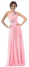cheap prom dresses uder 100 one shoulder long pink