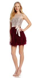 cheap prom dresses uder 100 short Lace Illusion Top