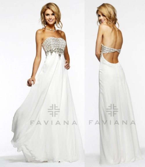 elegant strapless white prom dress by Faviana