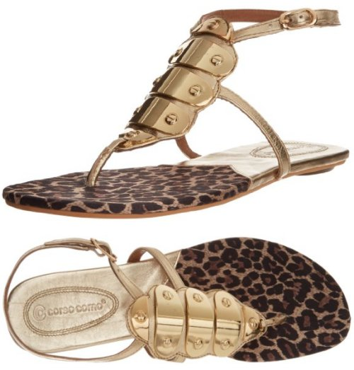 gold-leopard flat prom sandals by Corso Como