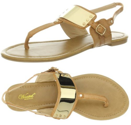 gold-tan flat prom sandals 2014 by Wanted