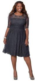 gorgeous grey lace cheap plus size prom dress