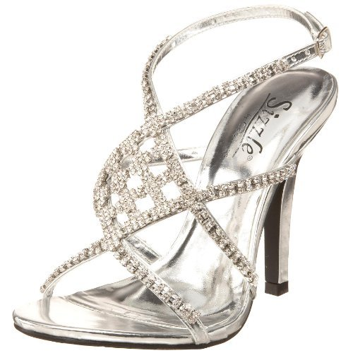 gorgeous high silver prom sandals with rhinesotnes by Coloriffics
