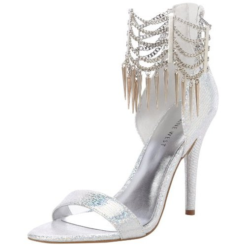 high silver metallic prom sandals with spikes by Nine West