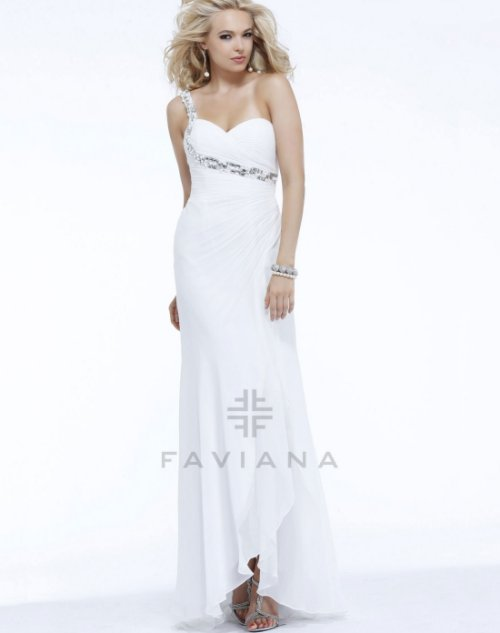 long one shoulder white prom dress by favian
