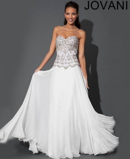 long white strapless prom dress with beautiful beading by Jovani