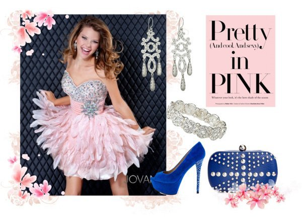 pink jovani and blue accessories