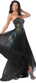 prom dresses under 200 black strapless peacock