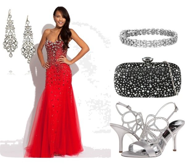 accessorizing embellished red prom dress