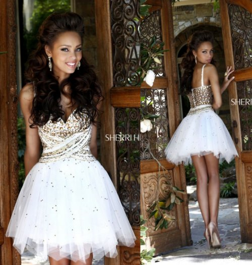 gorgeous white v-neck prom ball gown by Sherri Hill