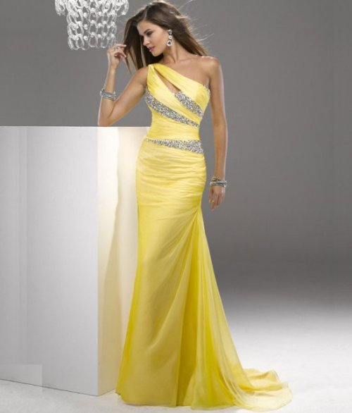 gorgeous yellow prom dress by Flirt with sparkling rhinestones