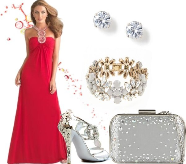 long red dress with silver-white accessories