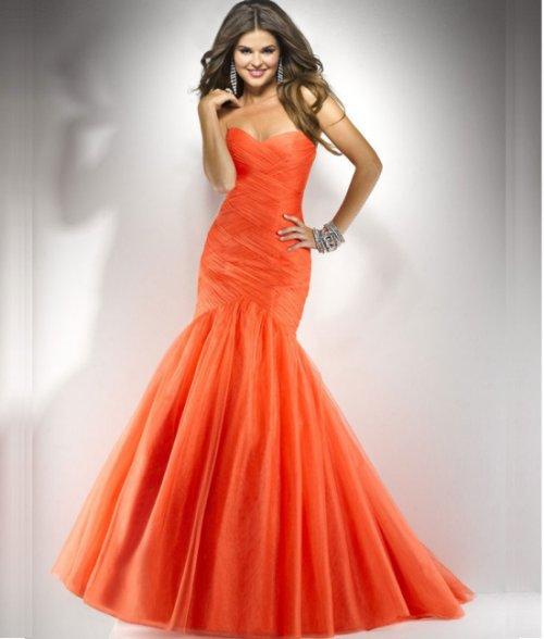 mermaid orange prom dress 2014 by Flirt