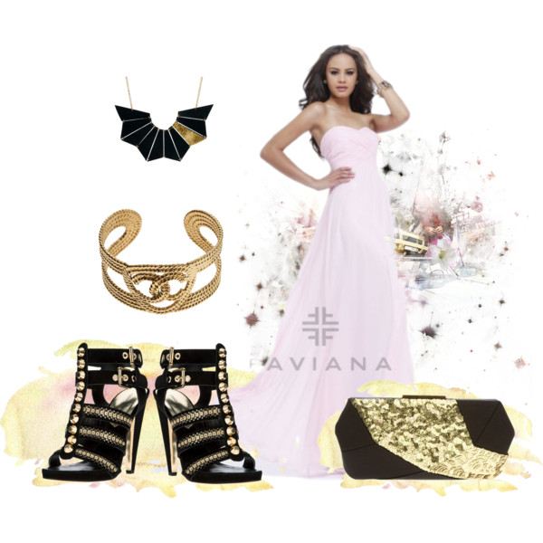 pink prom dress with black and gold accessories