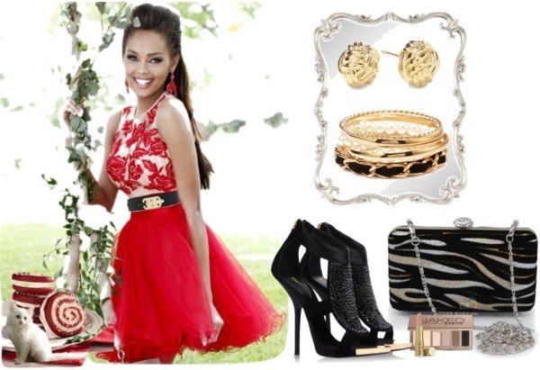 short red prom dress with black-gold accessories