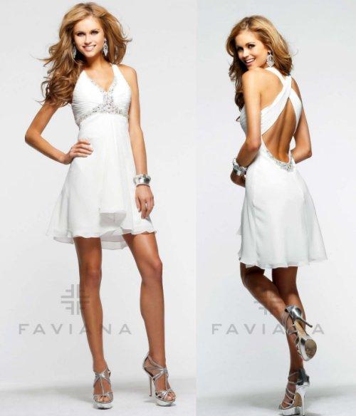 short white v-neck prom dress by Faviana-
