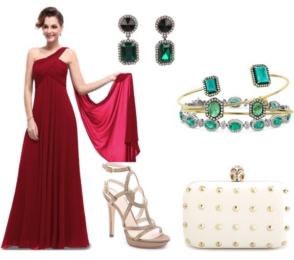 wine red prom dress with nude-emerald jewelry