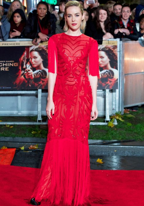 Jena Malone in red in a Monique Lhuillier dress