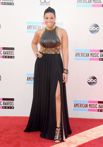 Jordin Sparks halter gold-and-black side slit Jovani Couture gown