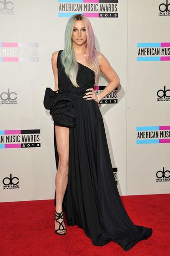 Ke$ha Michael Costello asymmetrical black gown