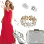 How to Style: Long Red Dress with Silver Accessories