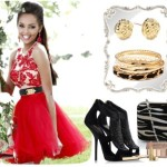 How to Style: Short Red Dress with Black & Gold Accessories
