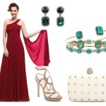 How to Style: Wine Red Dress with Emerald & Nude Accessories