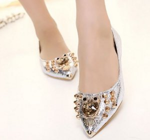 flat silver prom shoes
