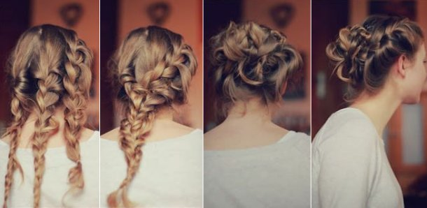 Triple Braided Prom Updo Hairstyle Tutorial