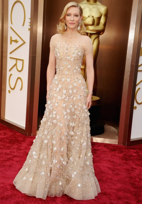 Cate Blanchett in an elegant Armani gown with beaded accents