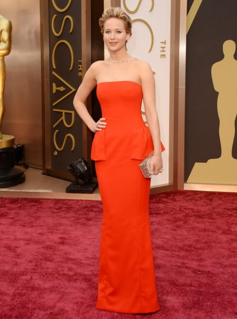Jennifer Lawrence in a red Dior couture gown