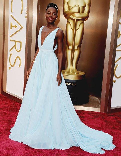 Lupita Nyong'o pale blue Prada couture gown