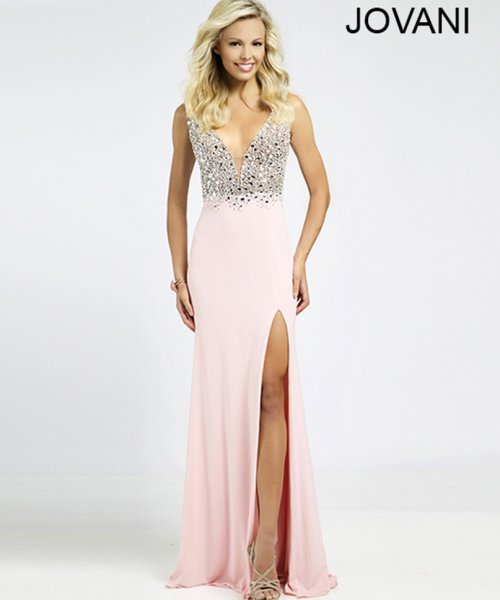 20906-elegant pink-silver rhinestones beaded prom dress by Jovani 2015