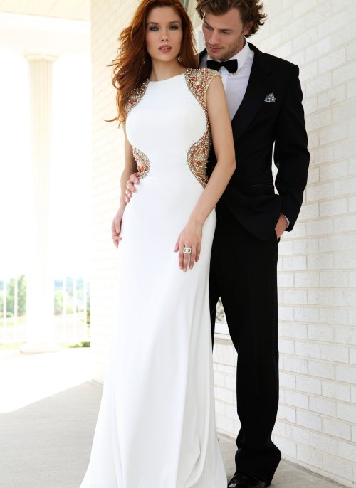92878-elegant beaded white prom gown 2015 by Jovani open back
