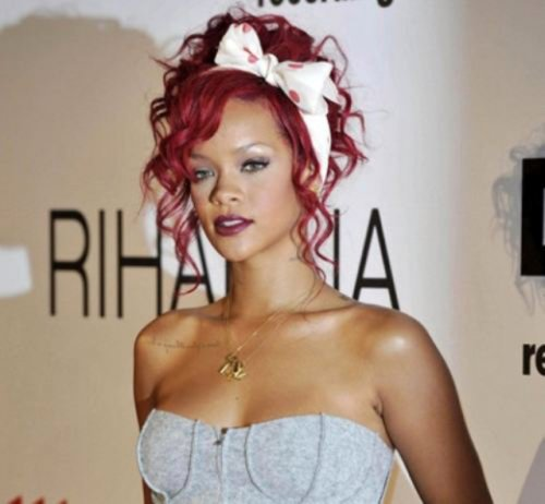 Rihanna red haired messy prom updo hairstyle 2015