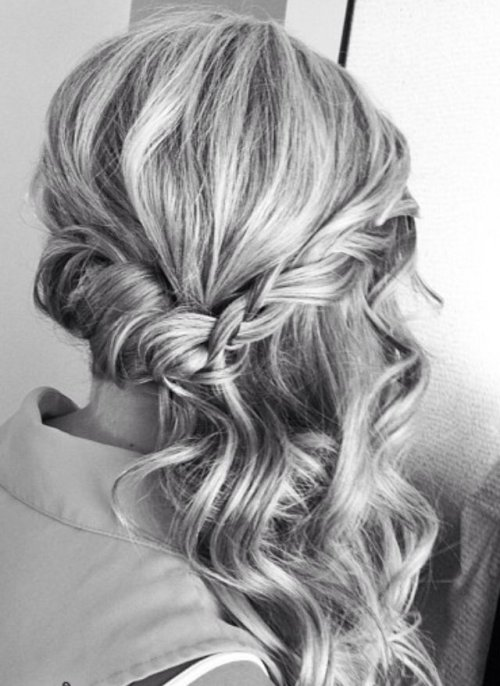 braided side half updo prom hairstyle 2015