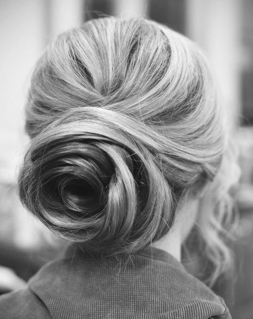 stylish rose bun prom hair updo 2015