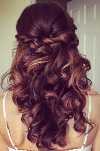 twisted curly half updo prom hairstyle 2015 long hair
