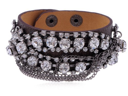 Sexy Chain Crystal Rhinestone Leather Wrist Anklet by Alilang
