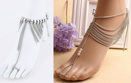 Silver Chain Toe Ring Anklet