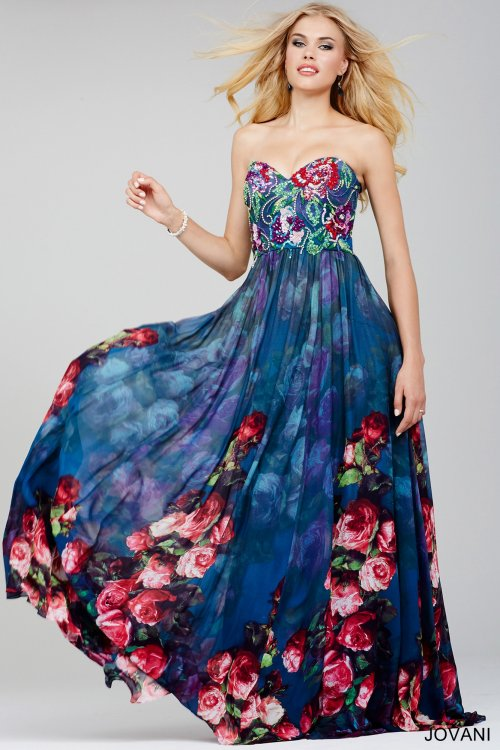 floral strapless blue jovani prom dress 2016-24022